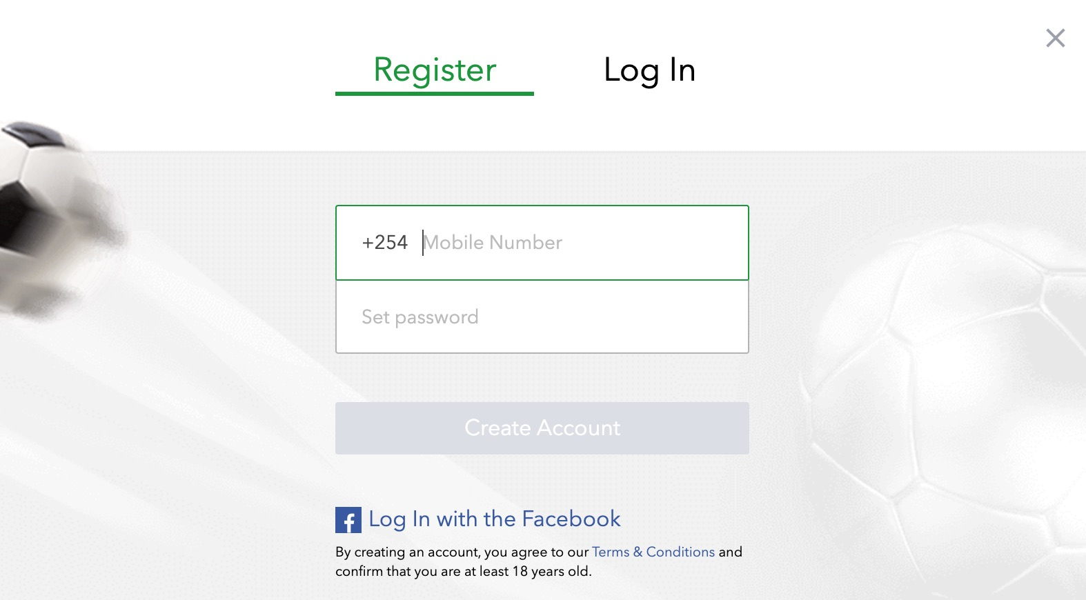 SportyBet create account